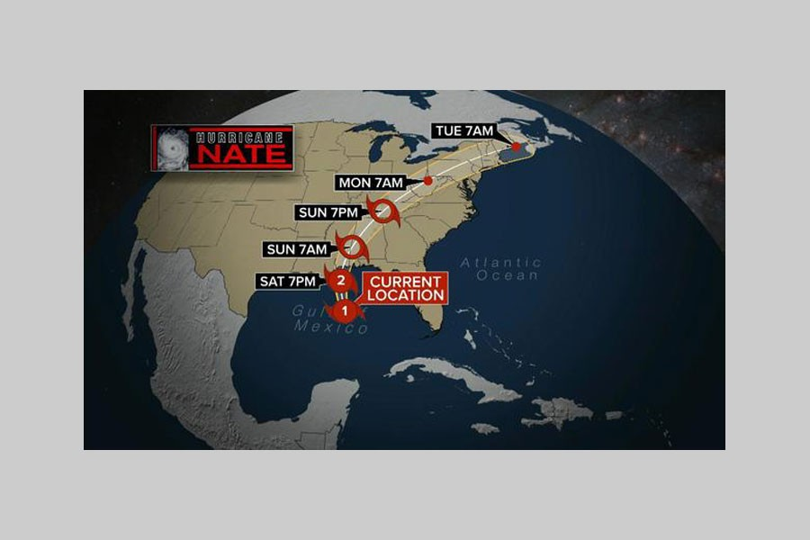 This map shows the projected path of Hurricane Nate on Saturday, Oct. 7, 2017. - CBS NEWS