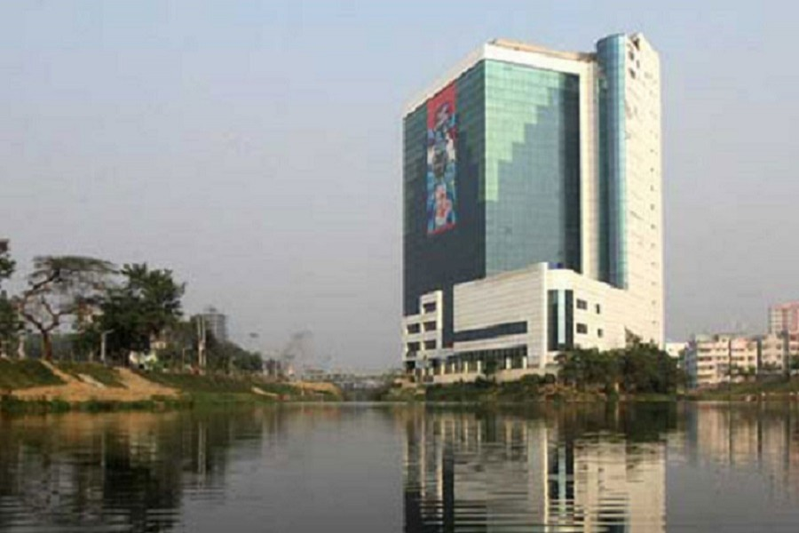 The 16-storey office building of the BGMEA was built in violation of the Wetlands Protection Act nearly two decades ago endangering wetlands in the capital Dhaka. Photo: FE/FIles
