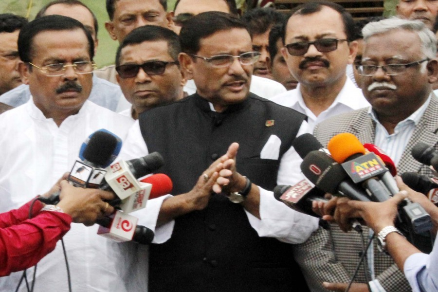 Awami League general secretary Obaidul Quader on Friday speaking to journalists while visiting the preparation work for the party's citizen gathering at Suhrawardy Udyan in the city— Focus Bangla