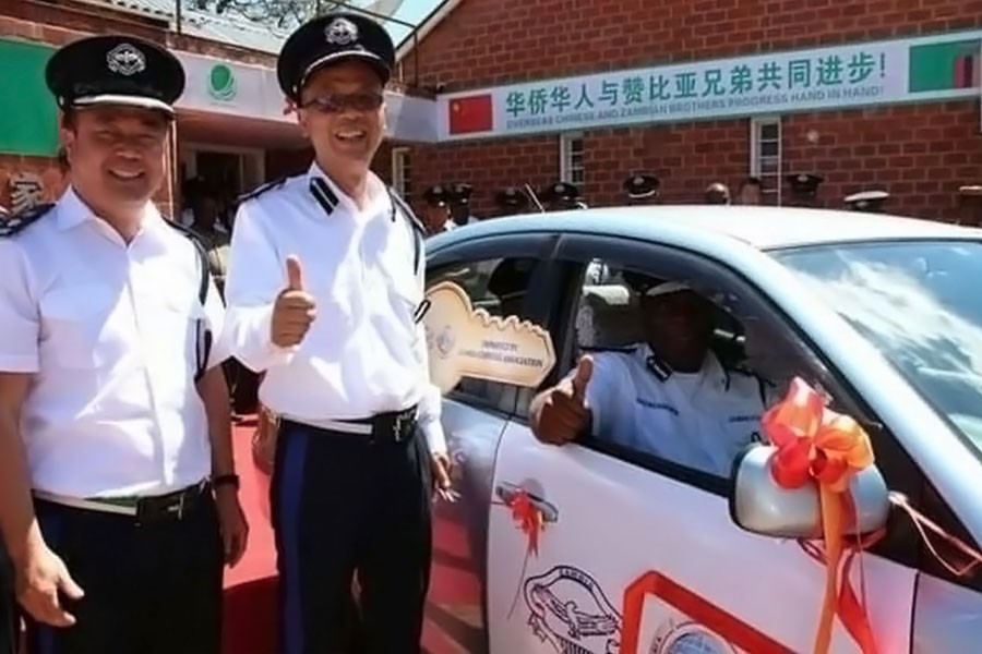The Chinese police officers were commissioned on Monday(MWEBANTU MEDIA)