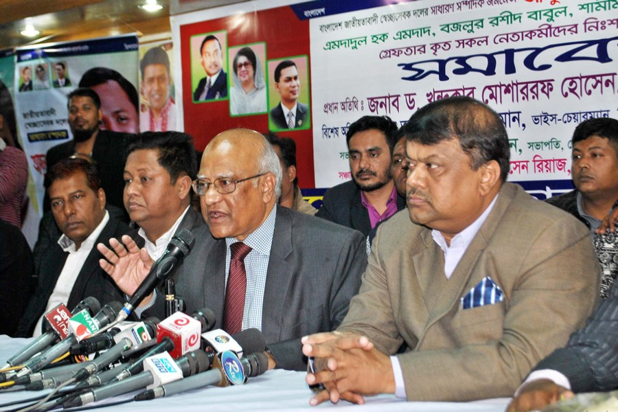 BNP standing committee member Khandaker Mosharraf Hossain speaking at a discussion organised by Jatiyatabadi Swechchhasebak Dal's Dhaka north city unit at Dhaka Reporters Unity in the city on Sunday demanding release of the arrested party leaders.  — Focus Bangla