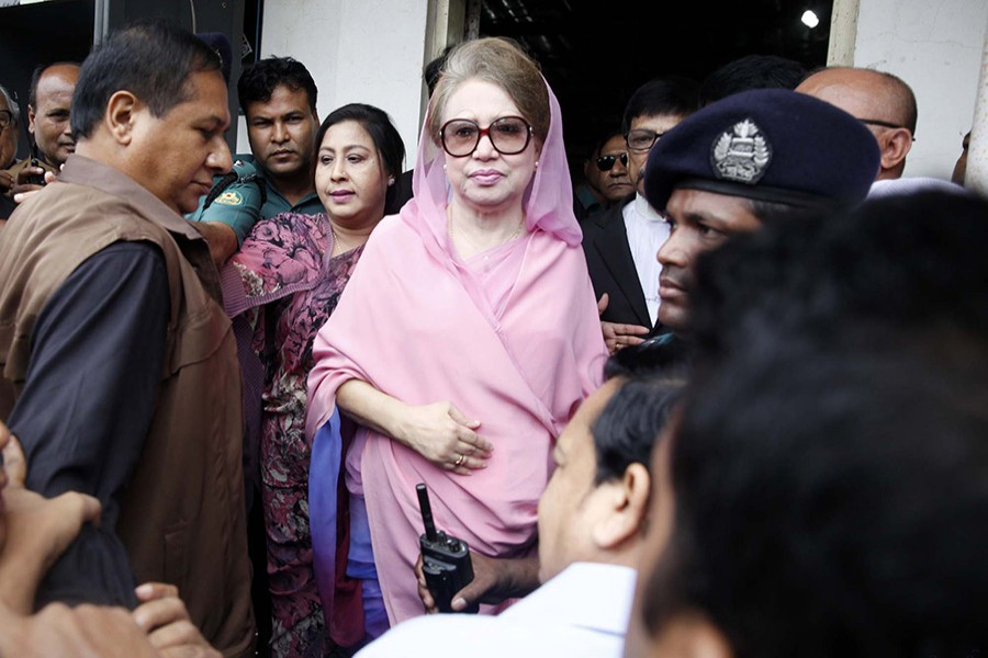 BNP Chairperson Khaleda Zia seen being taken to a court in this undated Focus Bangla photo