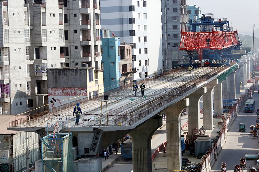 Construction work of the Dhaka metro rail project seen in this undated FE photo