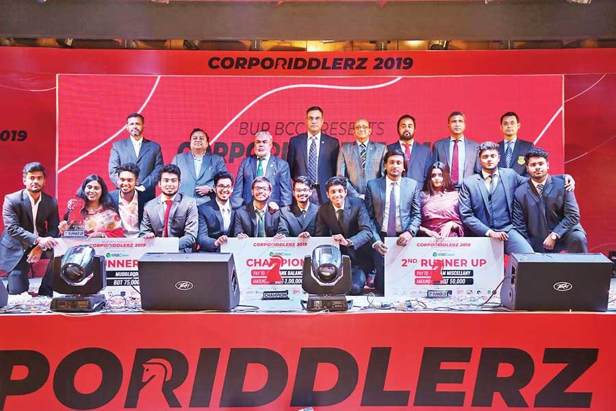 The winners of Corporiddlerz 2019 with the judges and guests held at Bangladesh University of Professionals