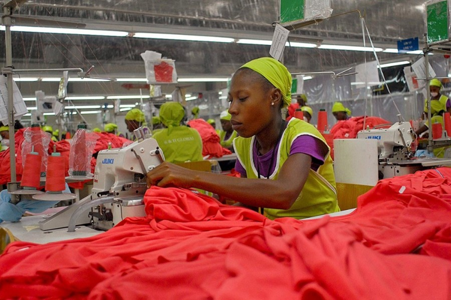Factory workers sew garments at the Caracol Industrial Park complex in Caracol, Haiti — Reuters/Files
