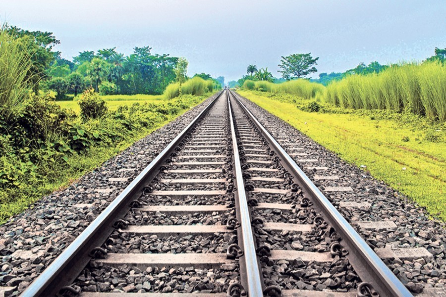A deserted view of a railway track. — Collected Photo