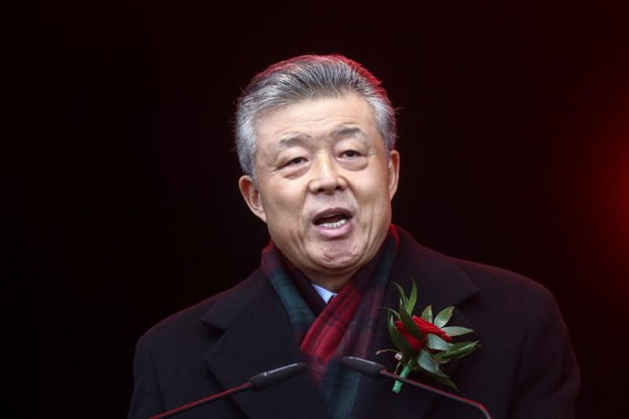 FILE PHOTO: Chinese Ambassador to Britain Liu Xiaoming talks to the crowd following the Chinese Lunar New Year parade through central London, Britain January 26, 2020. REUTERS/Simon Dawson