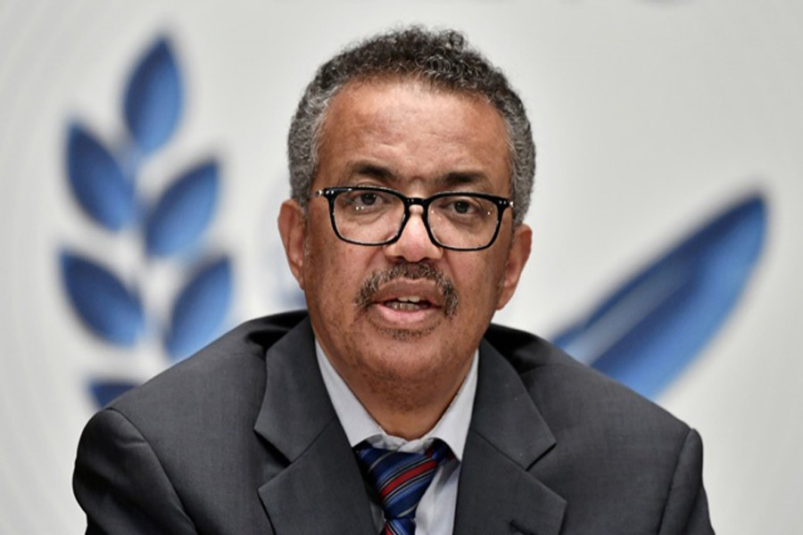 World Health Organization (WHO) Director-General Tedros Adhanom Ghebreyesus attends a news conference organised by Geneva Association of United Nations Correspondents (ACANU) amid the COVID-19 outbreak, caused by the novel coronavirus, at the WHO headquarters in Geneva Switzerland July 3, 2020. REUTERS/File