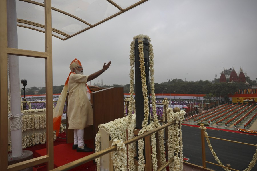 Indian Prime Minister Narendra Modi speaks from the ramparts of the historic Red Fort monument on Independence Day in New Delhi, India, Saturday, Aug 15, 2020. (AP Photo/Manish Swarup)
