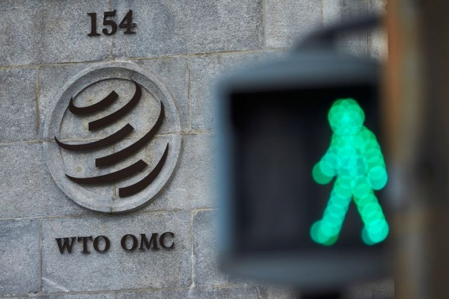 A logo is pictured in front of the World Trade Organization (WTO) in Geneva, Switzerland on July 22, 2020 — Reuters/Files