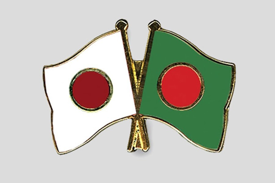 Flags of Bangladesh and Japan are seen cross-pinned in this photo symbolising friendship between the two nations