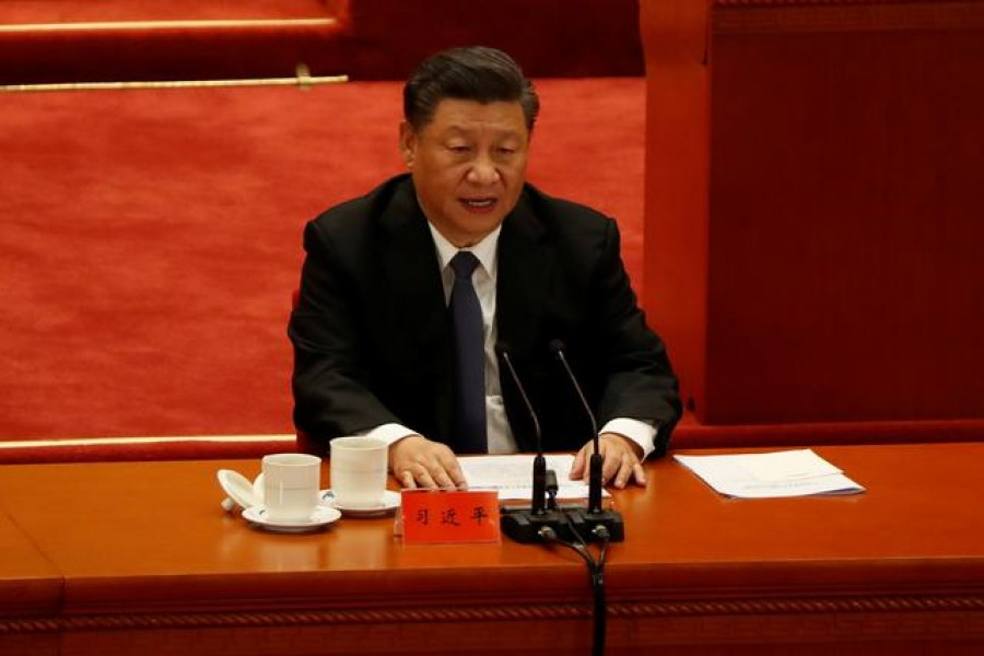 China's President Xi Jinping speaks while taking part in an event marking the 70th anniversary of the Chinese People's Volunteer Army's participation in the Korean War at the Great Hall of the People in Beijing, China, October 23, 2020 — Reuters