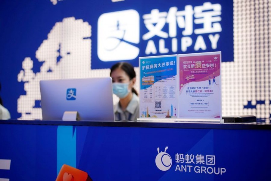 Ant Group logo is pictured at the Shanghai office of Alipay, owned by Ant Group which is an affiliate of Chinese e-commerce giant Alibaba, in Shanghai, China on September 14, 2020 — Reuters/Files