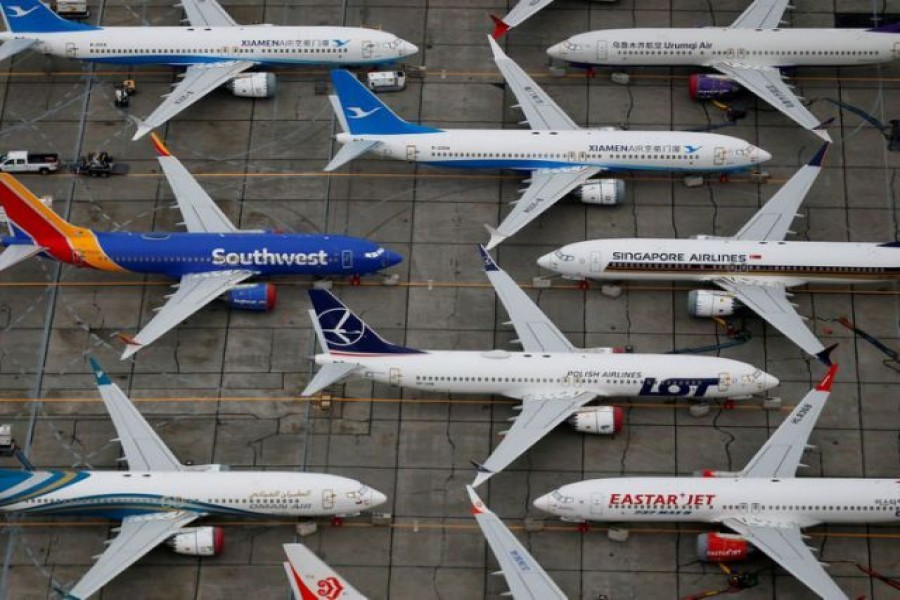 Grounded Boeing 737 MAX aircraft are seen parked at Boeing facilities at Grant County International Airport in Moses Lake, Washington, US November 17, 2020. REUTERS/Lindsey Wasson