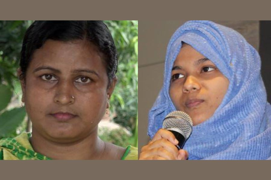 In this combination of photos, Rina Akter, a former sex worker, is seen on the left and Rima Sultana Rimu, a member of Young Women Leaders for Peace in Cox's Bazar, on the right – BBC