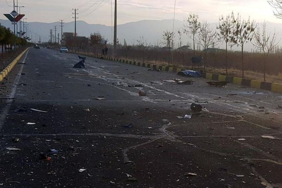 A view shows the site of the attack that killed Prominent Iranian scientist Mohsen Fakhrizadeh, outside Tehran, Iran, November 27, 2020 — WANA (West Asia News Agency) via Reuters