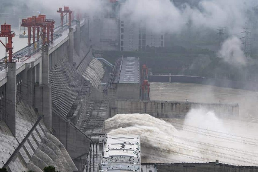 A file photo of water flowing out from sluiceways at the Three Gorges Dam on the Yangtze River. The hydropower generating capacity of a new dam being planned by China on its side of the Brahmaputra river could be three times that of Three Gorges Dam.(AP/ file)