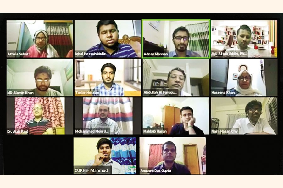 Club executives and research instructors at online inauguration of 'Autumn Research Internship Program 2020' arranged by Chittagong University Research and Higher Study Society (CURHS)
