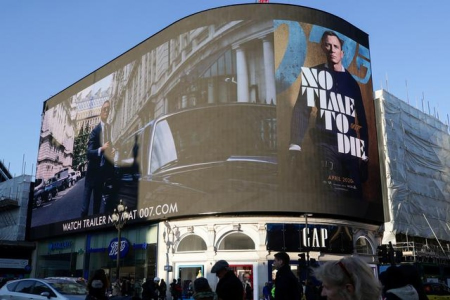 """A film trailer for the 25th installment in the James Bond series entitled """"No Time to Die"""" is displayed at Piccadilly Circus in London on December 4, 2019  — Reuters/Files"""