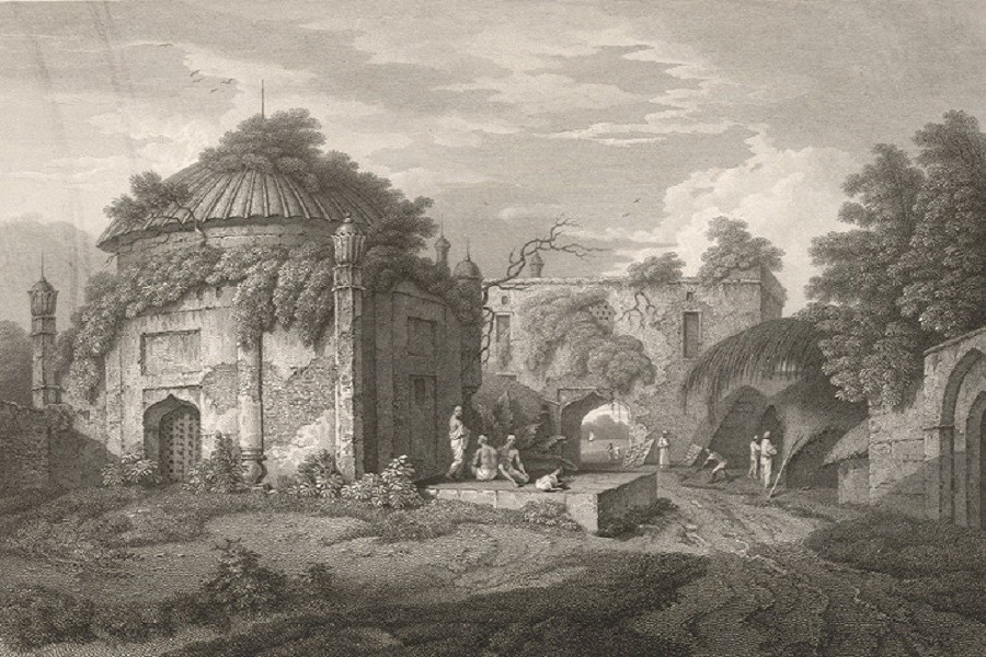 The Choto Katra with its enclosed mosque, Dhaka (1817) by Charles D'Oyly's and constructed by Shaista Khan. Photo: Wikipedia