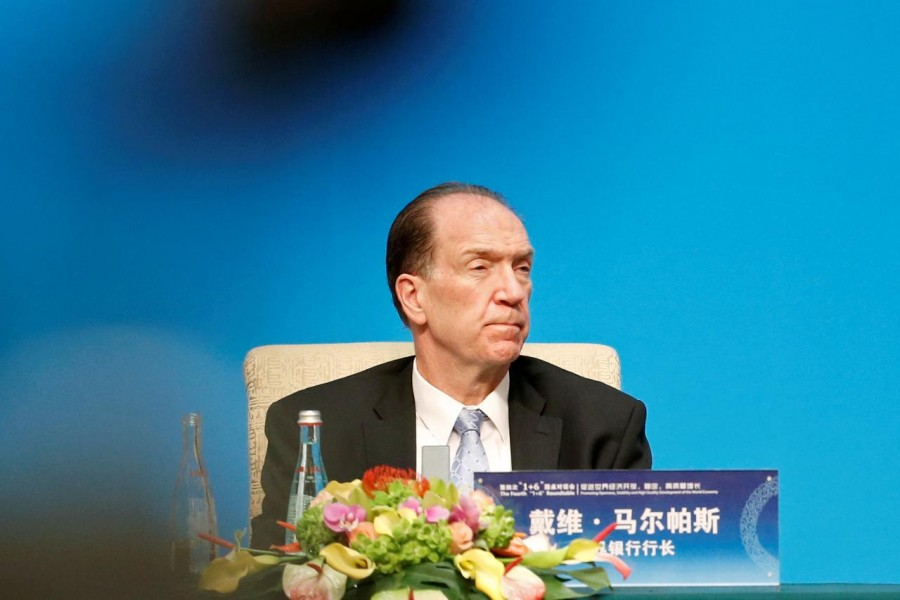 """World Bank President David Malpass attends a news conference following the """"1+6"""" Roundtable meeting at the Diaoyutai state guesthouse in Beijing, China November 21, 2019. REUTERS/Florence Lo/File photo"""