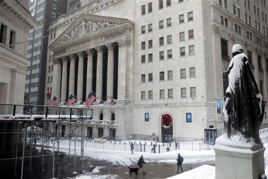 A view of the NYSE building during snowfall in the Financial District of Manhattan, New York City, New York, US on December 17, 2020 — Reuters/Files