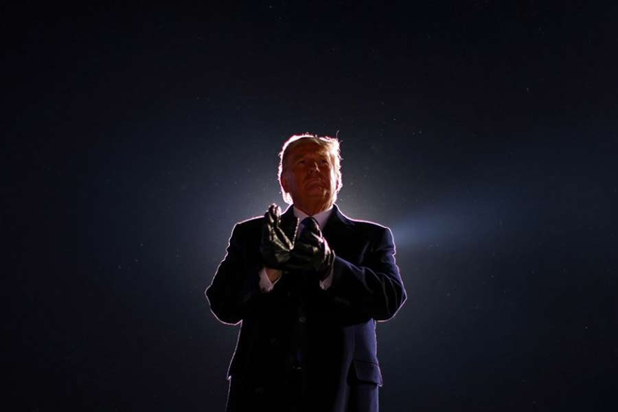 US President Donald Trump is seen at the end of his campaign rally last year –Reuters file photo