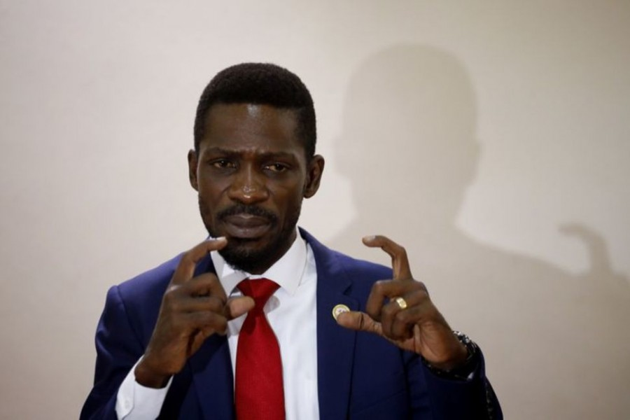 Ugandan opposition presidential candidate Robert Kyagulanyi, also known as Bobi Wine, speaks during a press conference with other opposition leaders in Kampala, Uganda January 12, 2021. REUTERS/Baz Ratner