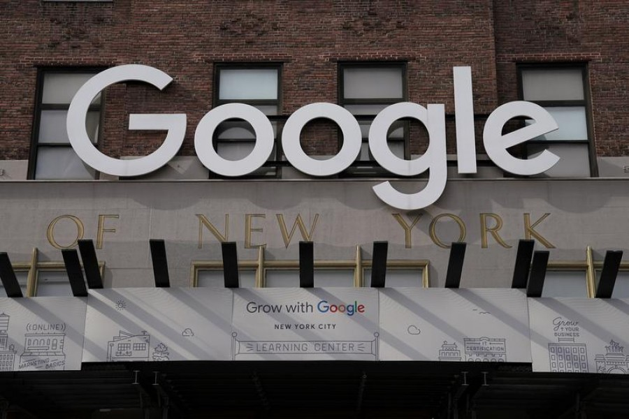 A Google sign is pictured on a Google building in the Manhattan borough of New York City, New York, US, October 20, 2020 — Reuters/Files