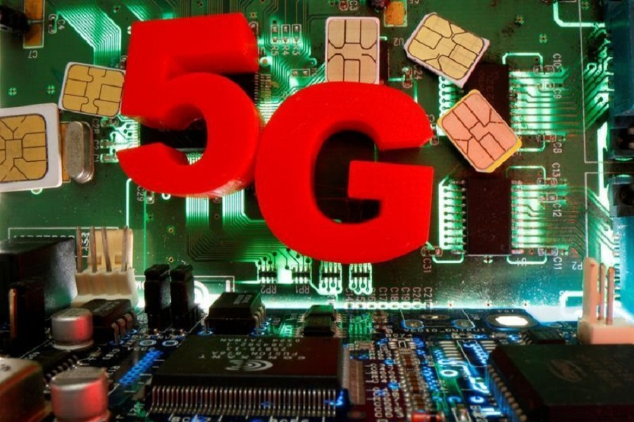 SIM cards and 3d printed objects representing 5G are put on a motherboard in this picture illustration taken April 24, 2020 — Reuters/Illustration