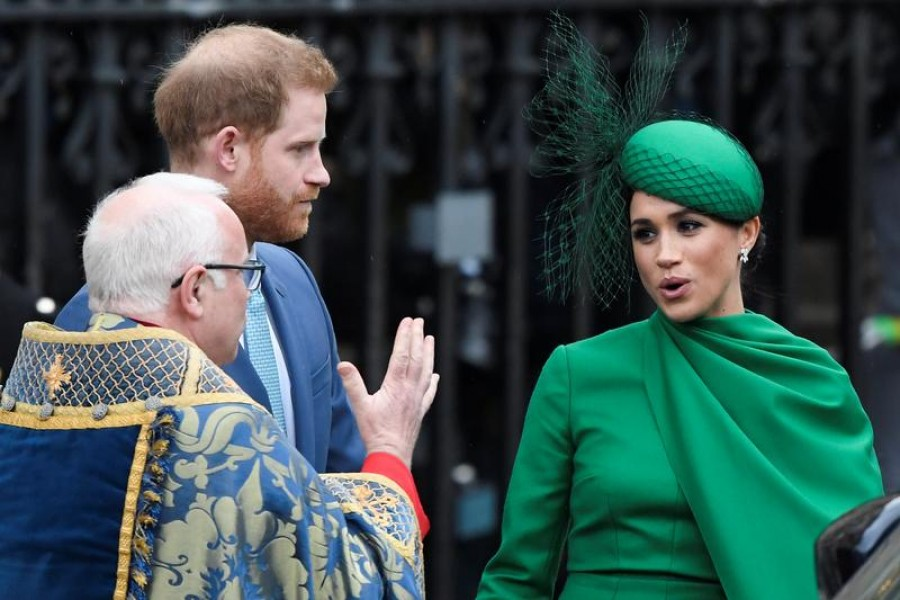 Britain's Prince Harry and Meghan, Duchess of Sussex, leave after the annual Commonwealth Service at Westminster Abbey in London, Britain March 9, 2020. REUTERS/Toby Melville
