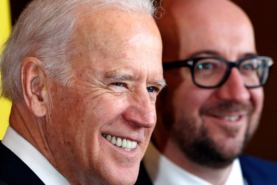 European Council President Charles Michel, left, has high hopes for a Biden presidency [File: Yves Herman/Reuters]