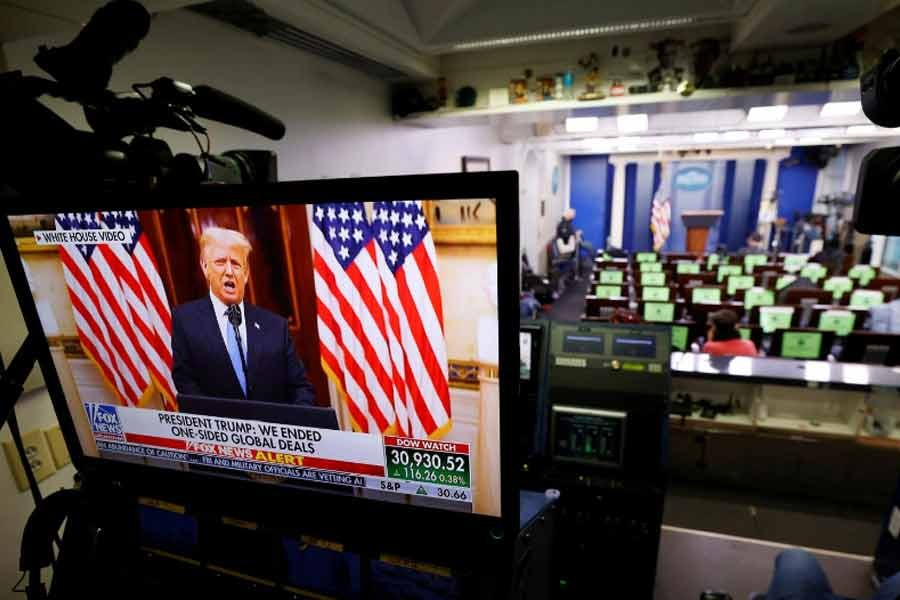 US President Donald Trump making remarks from the White House Briefing Room during his last day in office on Tuesday –Reuters Photo
