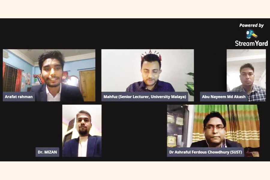 Participants at the webinar on sustainability management  arranged by Noakhali Science Technology University (NSTU) Business Club