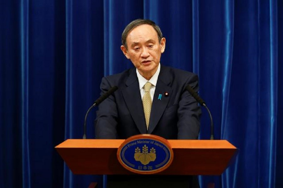 Japan's Prime Minister Yoshihide Suga speaks during a news conference at the PM's official residence in Tokyo, Japan, January 13, 2021 — Rodrigo Reyes Marin/Pool via Reuters/File Photo