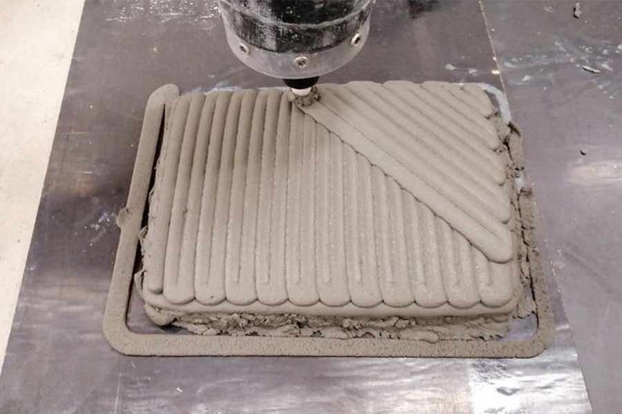 Concrete being 3D printed in lobster-inspired patterns at an RMIT lab in Melbourne — Reuters/Files
