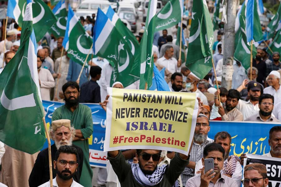 Pakistanis protest UAE's decision to normalise diplomatic ties with Israel during a demonstration in Karachi last year -Reuters file photo