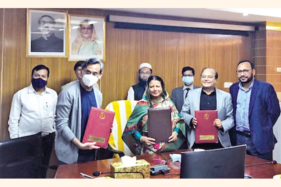 MD of Bangladesh Hi-Tech Park Authority (BHTPA) Hosne Ara Begum and MD of Summit Technopolis Abu Reza Khan jointly handed over the possession of 25 acres of commercial plot to Kazi Shakil, Chairman of Oryx Biotech, at a ceremony at the ICT Tower in Agargaon for setting up a plasma fractionation plant at Bangabandhu Hi-Tech City in Gazipur.