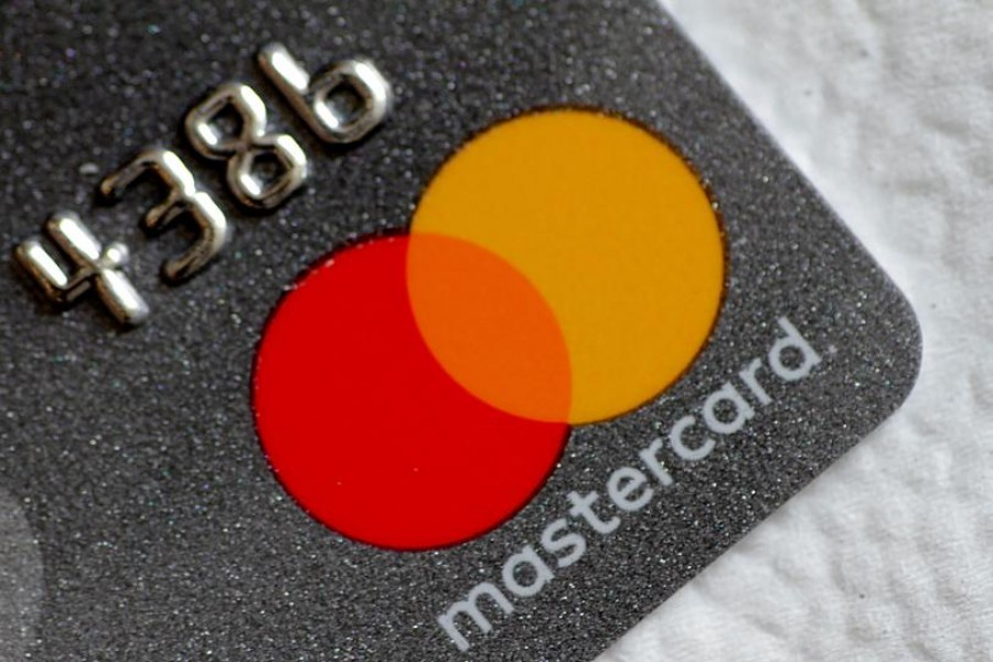 Mastercard logo is seen on a credit card in this picture illustration on August 30, 2017 — Reuters/Files