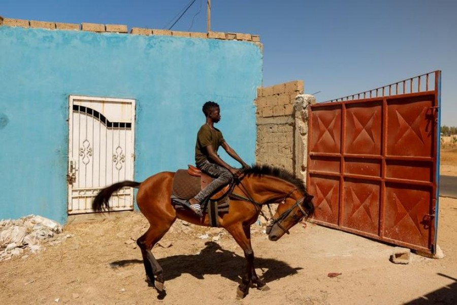 Fallou Diop, 19, a jockey, rides a young mare called Raissa Betty, whom he trains to compete with in the future, out of the Lambafar stable, in Niaga, Rufisque department, Senegal, January 27, 2021 — Reuters/Files