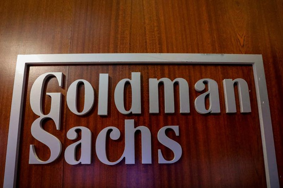 The Goldman Sachs company logo is seen in the company's space on the floor of the New York Stock Exchange, (NYSE) in New York, US on April 17, 2018 — Reuters/Files