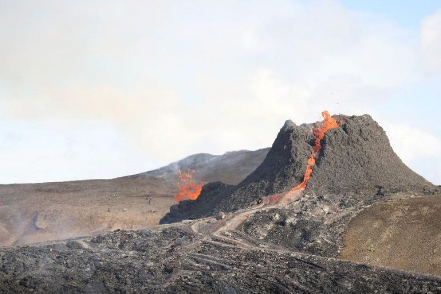 A view of the volcanic site on the Reykjanes Peninsula following Friday's eruption in Iceland March 23, 2021. REUTERS/Cat Gundry-Beck