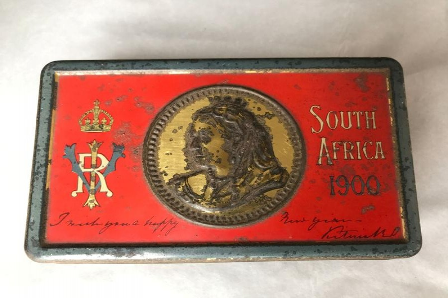 A 121-year-old tin of chocolate, from a batch commissioned by Queen Victoria for British troops fighting in South Africa, is seen in an undated photo at Oxburgh Hall, a manor house in Norfolk, Britain where it was found in the attic — National Trust/Victoria Mckeown/Handout via REUTERS
