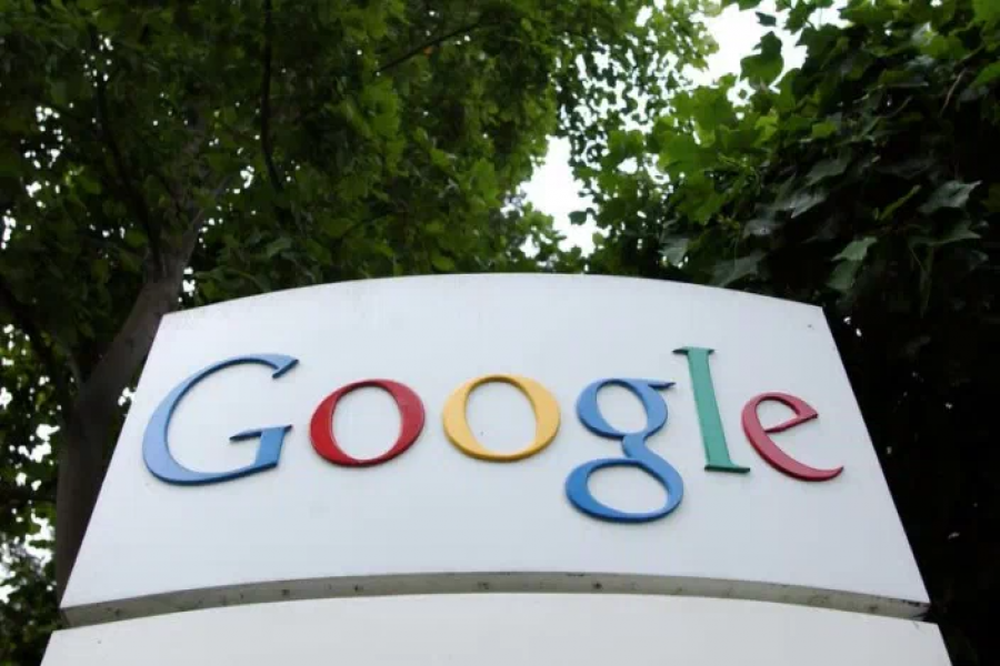 The logo of Google seen outside its headquarters in Mountainview, California
