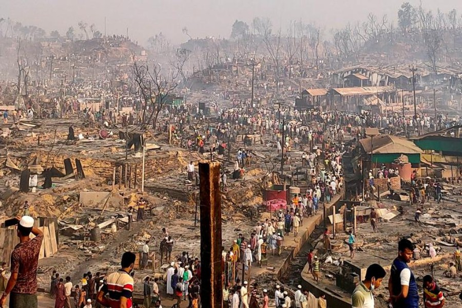 A general view of a Rohingya refugee camp after a fire burned down all the shelters in Cox's Bazar, Bangladesh, March 23, 2021. REUTERS/Ro Yassin Abdumonab