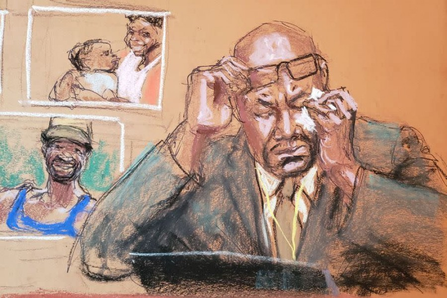 Philonise Floyd speaks about his brother as he answers questions on the eleventh day of the trial of former Minneapolis police officer Derek Chauvin for second-degree murder, third-degree murder and second-degree manslaughter in the death of George Floyd in Minneapolis, Minnesota, US, April 12, 2021, in this courtroom sketch — Reuters