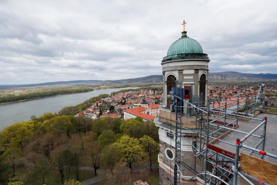 The Esztergom Cathedral is seen during the renovation of the building in Esztergom, Hungary, April 14, 2021 — Reuters