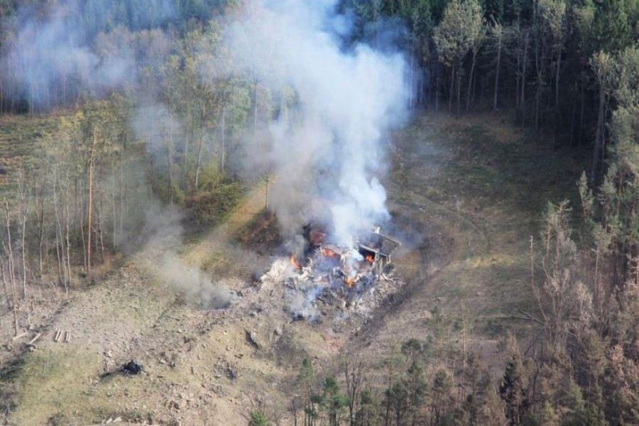 - The explosion destroyed a remote ammunition storage facility situated in a Czech forest
