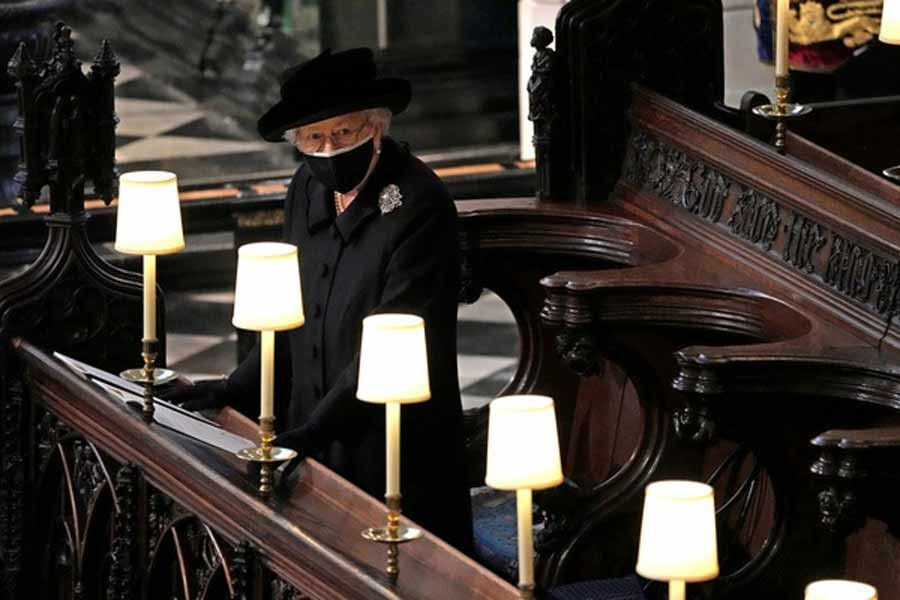 Britain's Queen Elizabeth is seen during the funeral of Britain's Prince Philip at St George's Chapel in Windsor on April 17 this year -Reuters file photo