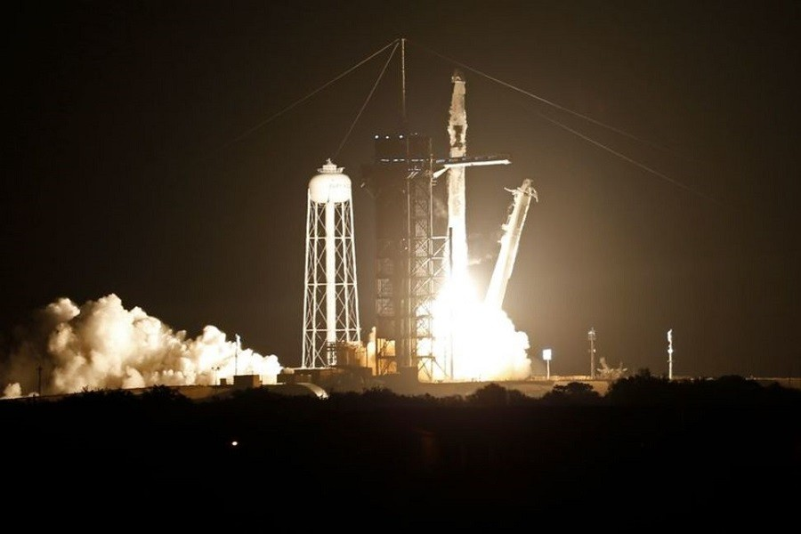 A SpaceX Falcon 9 rocket, with the Crew Dragon capsule, is launched carrying four astronauts on a NASA commercial crew mission to the International Space Station at Kennedy Space Center in Cape Canaveral, Florida, US, April 22, 2021 — Reuters